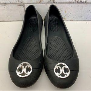 Crocs Black Ballet Flats Slip On Dress Shoes Sz. 9